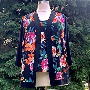 Slinky Brand Floral Petite 3X Tank and Jacket